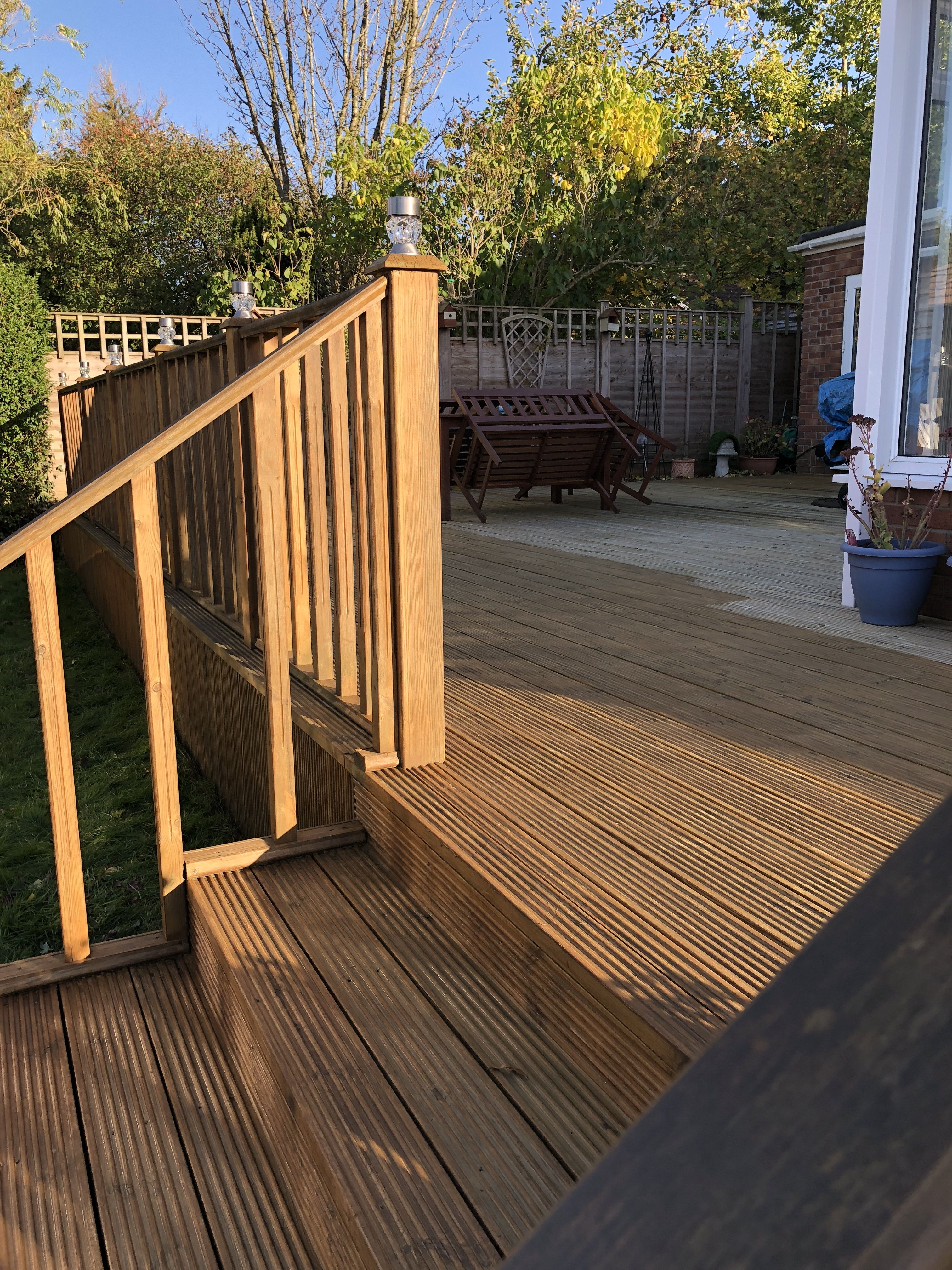 Honiton October 2018- decking stain in process